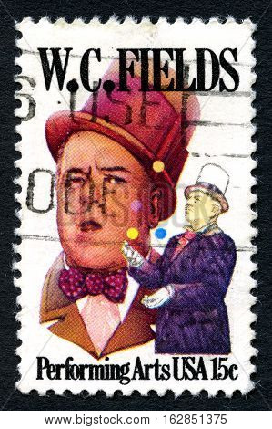 UNITED STATES OF AMERICA - CIRCA 1990: A used postage stamp from the USA celebrating the life of American comedian and entertainer W. C. Fields circa 1990.