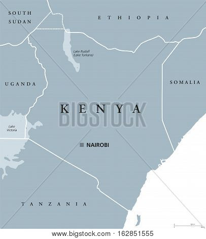 Kenya political map with capital Nairobi. Republic in Africa with national borders, neighbor countries, Lake Turkana and Lake Victoria. Gray illustration with English labeling. Vector.