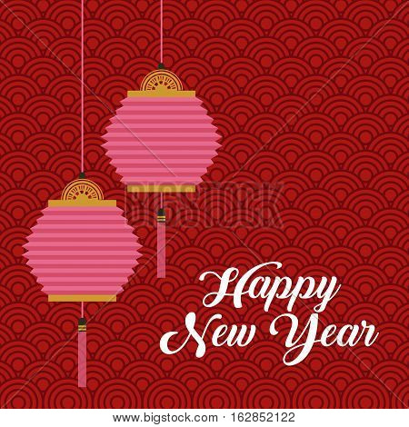 happy new year card with chinese lantern decorations hanging over red background. colorful design. vector illustration