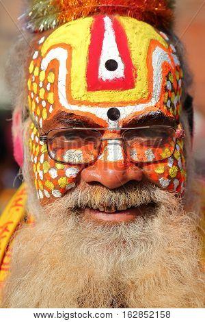 KATHMANDU, NEPAL - JANUARY 15, 2015: Portrait of a Sadhu (Holy man) in Durbar Square
