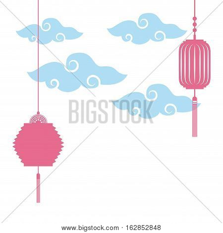 chinese lanterns decorations hanging over clouds shapes and white background. colorful design. vector illustration