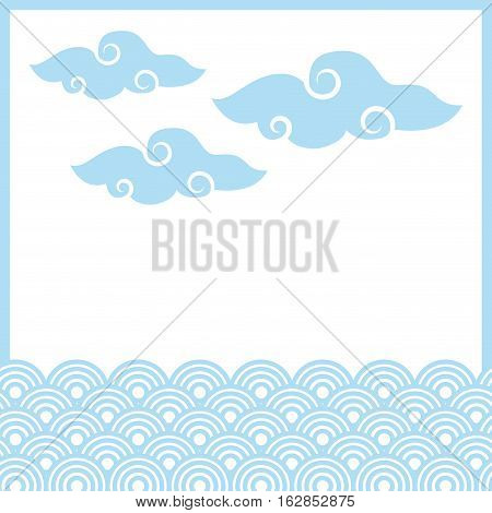 traditional chinese clouds and circular shapes. colorful design. vector illustration