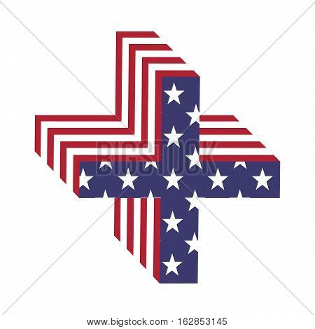 Letter plus sign from 3d with American flag texture wrapped. Volume USA vector font