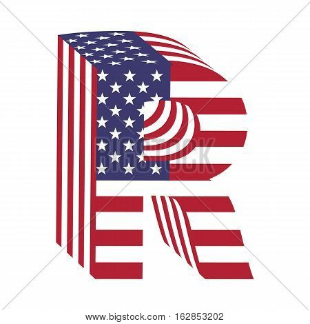 Letter R from 3d with American flag texture wrapped. Volume USA vector font
