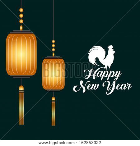 happy new year card with chinese lanterns hanging and  rooster icon. colorful design. vector illustration