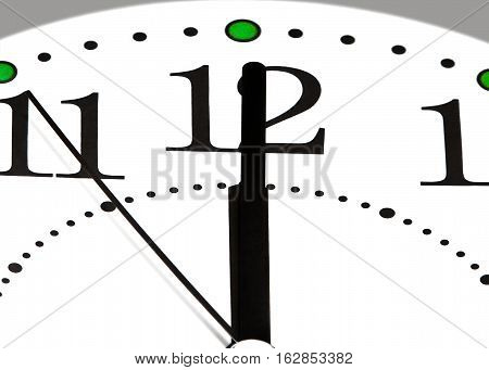 Black arrows show the time twelve o'clock