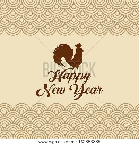 happy new year card with rooster icon. colorful design. vector illustration