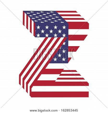 Letter Z from 3d with American flag texture wrapped. Volume USA vector font