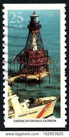 UNITED STATES OF AMERICA - CIRCA 1990: A used postage stamp from the USA depicting an illustration of American Shoals in Florida circa 1990.