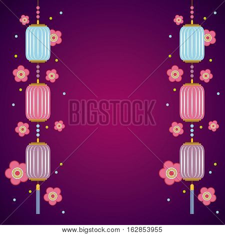 pink flowers chinese lanterns decorations hanging over purple background. colorful design. vector illustration