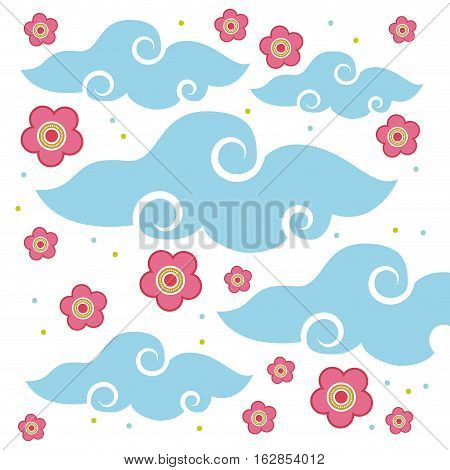 pink flowers and blue clouds icon over white background. colorful design. vector illustration