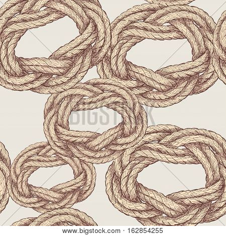 Vector pattern of the rope twisted in the sea knots.