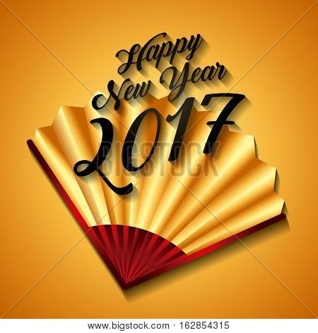 happy new year card with chinese fan icon over yellow background. colorful design. vector illustration
