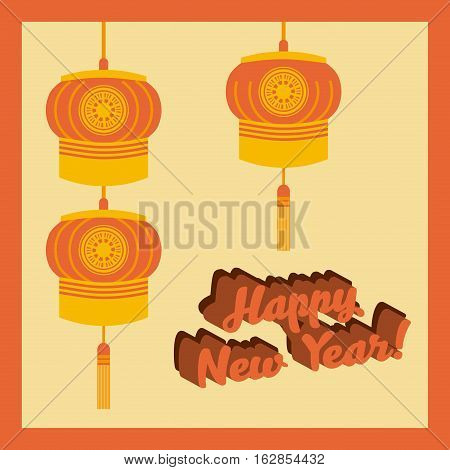 happy new year card with chinese lantern decorations hanging. colorful design. vector illustration