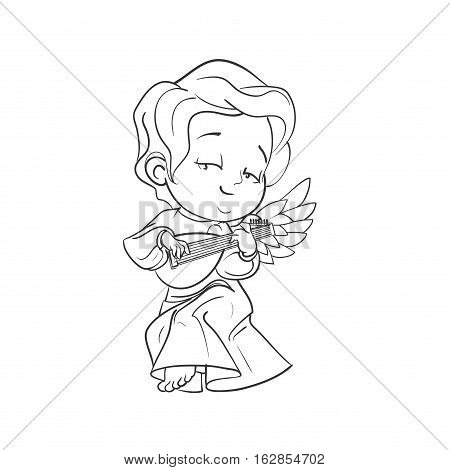 Cute smiling baby angel making music plaing lute. Vector illustration. Good for seasonal greeting, redwork, coloring page. Ink line work, contour