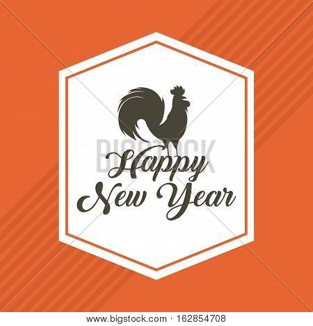 happy new year card with decorative frame with rooster icon. colorful design. vector illustration