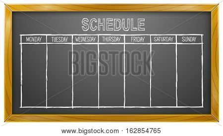 Vector Illustration of Schedule on Blackboard. Best for Business, Conceptual, Time Management Concept.