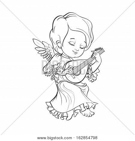 Cute smiling toddler angel making music playing lute. Vector illustration. Good for seasonal greeting, redwork, coloring page. Ink line work, contour