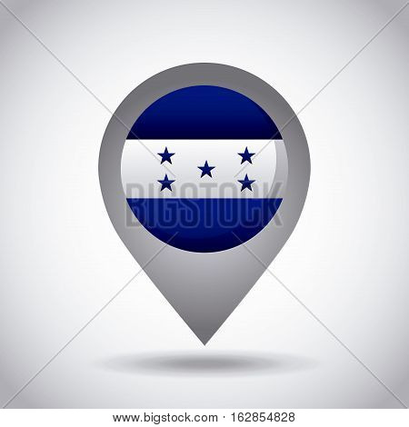 honduras country flag pin icon over white background. colorful design. vector illustration