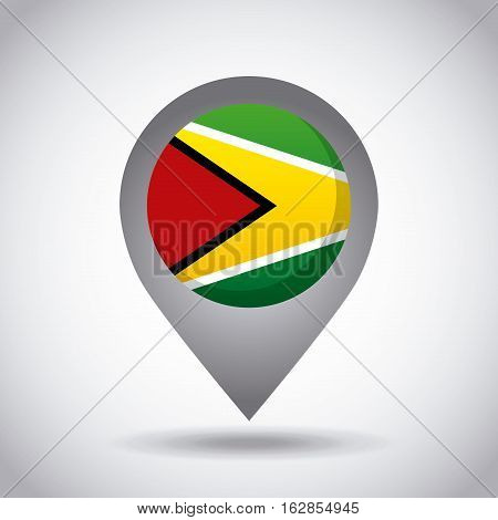 guayana country flag pin icon over white background. colorful design. vector illustration