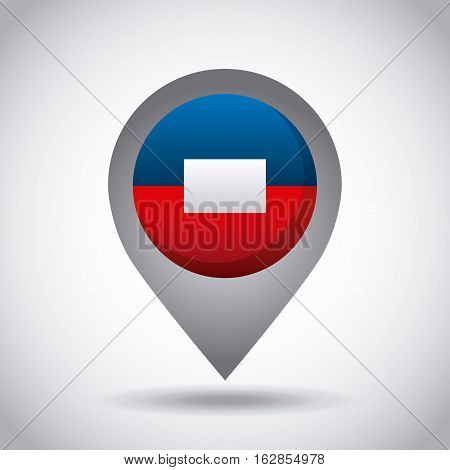 haiti country flag pin icon over white background. colorful design. vector illustration