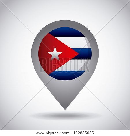 cuba country flag pin icon over white background. colorful design. vector illustration