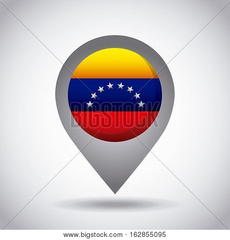 venezuela country flag pin icon over white background. colorful design. vector illustration