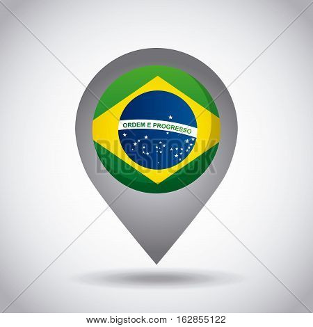 brazil country flag pin icon over white background. colorful design. vector illustration