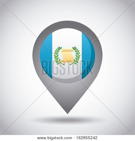guatemala country flag pin icon over white background. colorful design. vector illustration