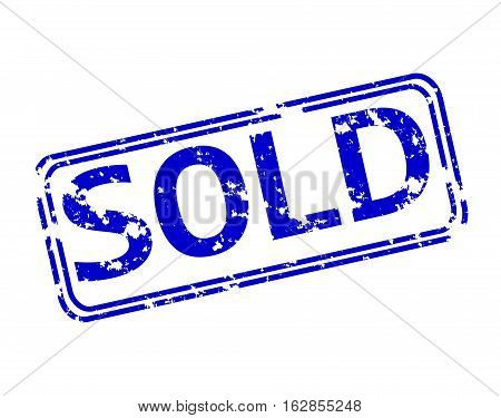 Rubber stamp with the word sold isolated from the background, vector illustration.