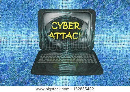 Computer cyber attack, conceptual image. 3D illustration showing bursting of laptop screen and cyber attack words