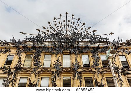 Peacock Sculpture Over The Facade Of Princes Square, Glasgow, Uk