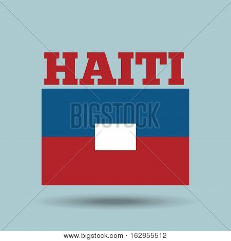 haiti country flag icon over blue background. colorful design. vector illustration