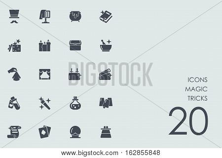 magic tricks vector set of modern simple icons