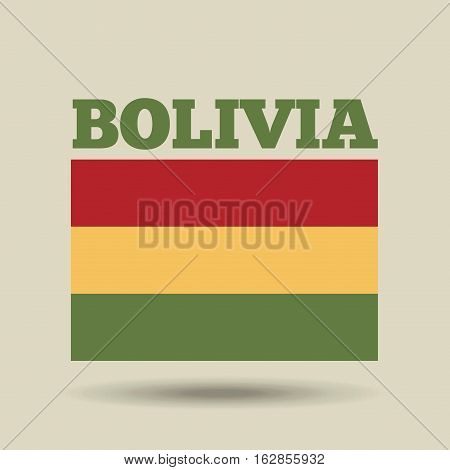 bolivia country flag icon over yellow background. colorful design. vector illustration