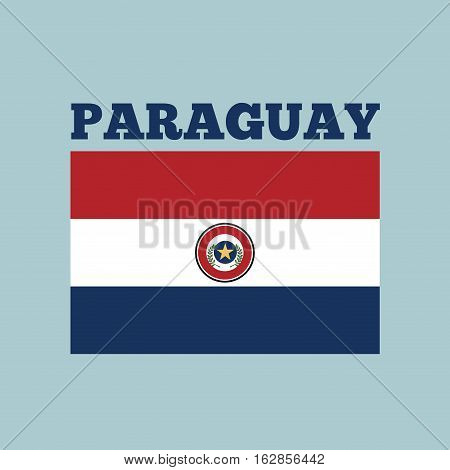 paraguay country flag icon over blue background. colorful design. vector illustration