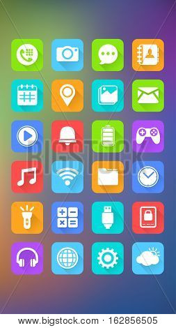 Vector Illustration of Mobile Icons on Abstract Background. Best for Mobile, Application Development, Social Media, Internet, Design Element concept.