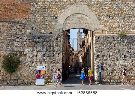 Gate At The City Wall Of San Gimignano, Tuscany, Italy