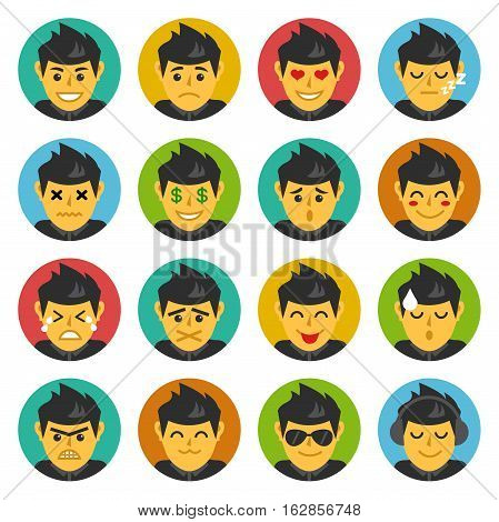 Vector Illustration of Cute Character Emoticons. Best for Emoticons, Mobile, Social Media, Internet, Design Element concept.