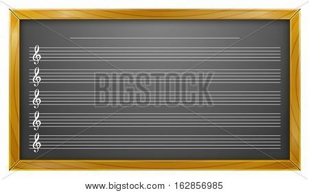 Vector Illustration of Music Education on Blackboard. Best for Backgrounds, Music, Sound, Music Education, Backdrop, concept.