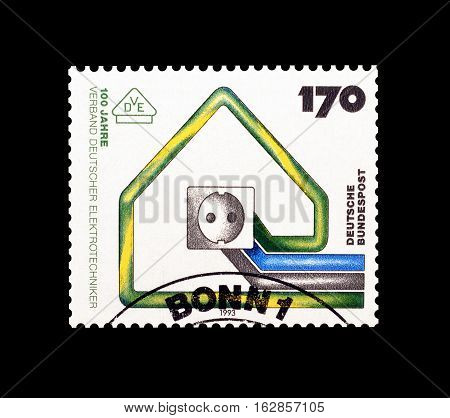 GERMANY - CIRCA 1993 : Cancelled postage stamp printed by Germany, that shows Electric socket.