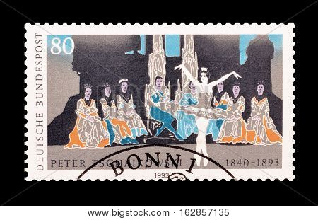 GERMANY - CIRCA 1993 : Cancelled postage stamp printed by Germany, that shows Tschaikowsky.