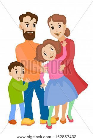 Fun cartoon family in colorful stylish clothes. Father mother and children all together one family