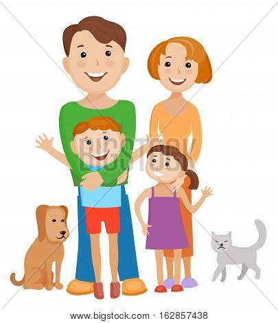 Fun cartoon family in colorful stylish clothes. Father mother children and pets all together one family