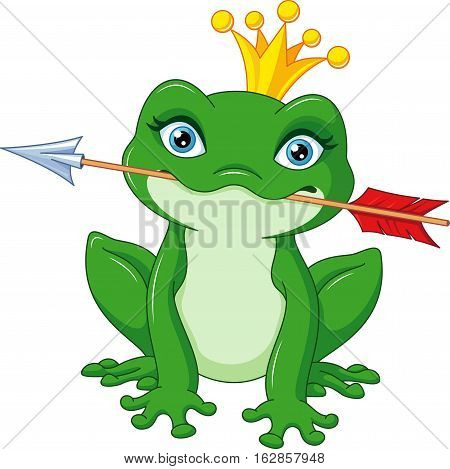Cute princess frog caught arrow, EPS 8