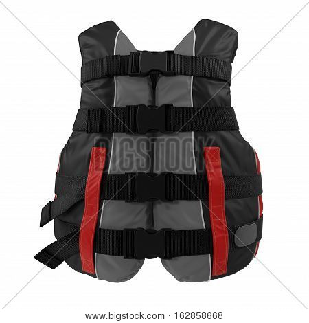 Red Life Vest on white background. Front view. 3D illustration