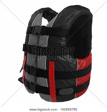 Red Life Jacket on white background. 3D illustration