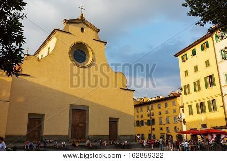 Basilica And Square Santo Spirito In Florence, Italy