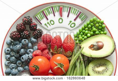 Bathroom weighing scales made of vegetables with healthy natural ingredients