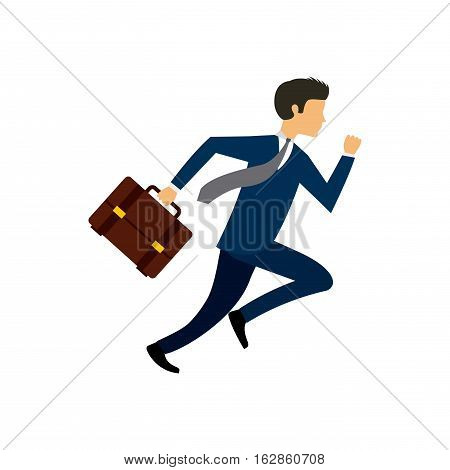 business man running icon over white background. competitive business cocept. colorful design. vector illustration
